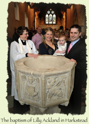 The baptism of Lilly Ackland in Harkstead