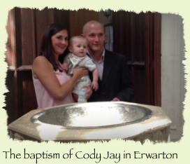 The baptism of Cody Jay in Erwarton